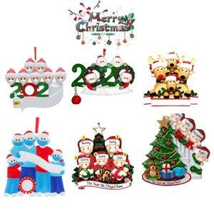 2020 DHL 6 Стиля рождественских украшений DIY Приветствие 2020 Survivor семьи Карантин Xmas Party Pandemic социального дистанцирования елка Подвески