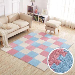 30*30cm Carpet Living Room Bedroom Children Kids Floor Tiles Soft Interlocking Rug Magic Patchwork Jigsaw Splice Plush Play Mat