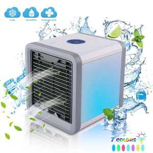 Mini USB Portable Air Cooler Fan Air Conditioner 7 Colors Light Desktop Air Cooling Fan Humifier Purifier for Office Bedroom Free