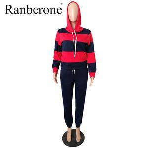 Costume Sport Tee shirt à rayures patchwork Sweat à capuche Survêtements Costume printemps et automne Set 2 pièces sport Outcity 2020