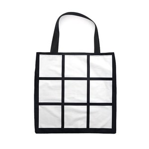 Sublimation Grid handbag Tote Bag Blank White DIY heat transfer shopping bag 9 panels Cloth reusable Storage gift bag handbag