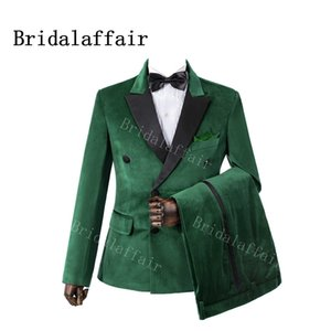Bridalaffair 2 Parça Yeşil Kadife Düğün Groomsmen Smokin Siyah Zirve Yaka Slim Fit Custom Made Akşam Parti Erkekler 201105 Suits