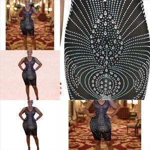 Dio2 Casl Casl Hot Drilling Stripe Shirt Dress Party Mini Sera Sera Sexy Znuwomen Dress Dress Abito lungo