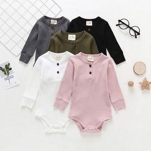 Bébé Couleur Solide Manches Longues Roms Rompers Printemps 2020 Enfants Boutique Vêtements Enfant Toddlers Garçons Garçons Garçons Cotton Manches Longues Rompeurs