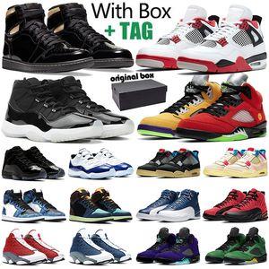 aj1 retro 1s 11s أحذية كرة السلة الرجالية Jumpman 1s 4s Fire Red 5s 11s Concord 12s 13s أحذية رياضية رياضية مع صندوق