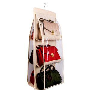 Home 6 Pockets Handbag Purse Storage Bag Hanging Books Organizer Wardrobe Closet Hanger Double Sided Foldable Transparent EEB4237