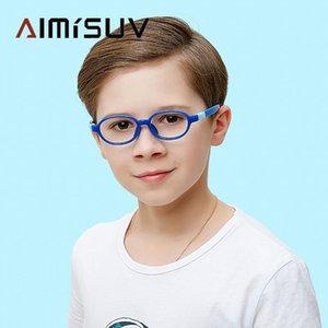 AIMISUV Овальный Синий свет Блокировка очки Дети Съемный TR90 Силиконовые рамных Детский Компьютер Eyeglasses Мальчик Девочка UV400
