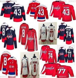Ucuz Özel Washington Capitals Hokey Formaları 8 Alex Ovechkin 74 Carlson 43 Tom Wilson Dikiş Herhangi Bir Adı Numarası Mens Hokey Jersey