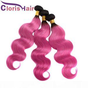 Körper-Wellen-Ombre Haar Weaves 1B Rosa Raw indische Jungfrau-Menschenhaar Bundles Günstige Zwei Ton-Rosen-Rosa Wellenförmige Ombre Haar-Verlängerungen 3pcs