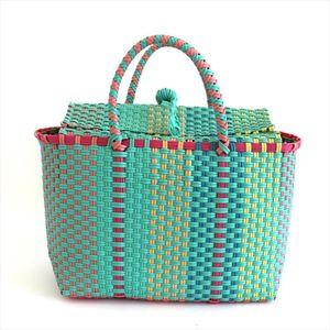 2 color Women Durable Weave Beach Bag Woven Bucket Bag Casual Tote Handbags Bags Popular Receive straw plastic braided basket