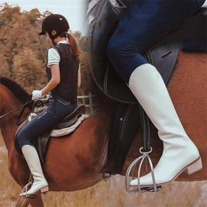 PXELENA Совершенно новый 2020 осень зима Женщины езда Knight Колено Высокие сапоги Med Каблуки Zip из натуральной кожи Army Biker обувь