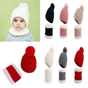 Baby Boy Girl Pom Poms Hat & Scarf Child Winter Hat Girl Knit Cap Thick Baby Hat Baby Toddler Warm Cap Scarf Set DB197
