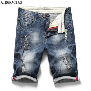 AIRGRACIAS para hombre jeans rasgados cortos Ropa de la marca Bermuda 98% de algodón transpirable pantalones cortos pantalones cortos de mezclilla masculino nueva manera del verano 1006