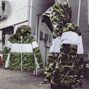 coton hommes frais 20FW camouflage mode hiver imprimé 3 bandes lettre de tendance veste chaude feuille taille de la veste d'impression des hommes de conception S-2XL