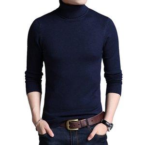 TFETTERS Slim Thickened Men's Base Coat Turtleneck Sweater Men Sweater Black Sweater Knitwear Long Sleeve Slim Sweaters 201007