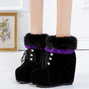 Rimocy Crystal Lace Up Fluffy Fur Ankle Boots Women Super High Heels Wedges Snow Boots Winter Warm Plush Plaform Shoes Woman LJ201019