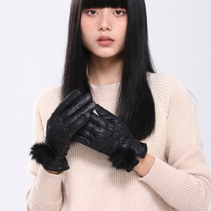 Warm women's leather touch screen gloves in autumn and winter