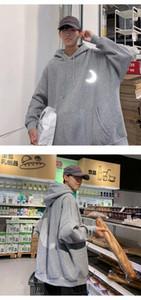 Fashion Men Cool Moon reflection Men Hip Hop Hooded Hoodies Japanese Casual Sweatshirts Streetwear