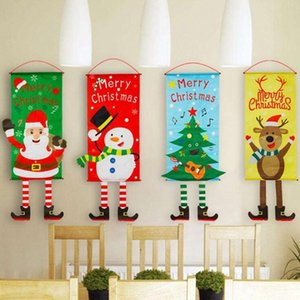 Merry Xmas Flags Christmas Banner Christmas Milu Deer Reindeer Flag Decorations Xmas Door Curtain Couplets Xmas Party Banner 6 Style WY861DX
