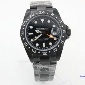 PVD Erkek Saatler Exp Siyah 40mm Sapphire 316 Çelik GMT Eller ile Otomatik Mekanik Paslanmaz Çelik Bilezik Erkekler Saatler