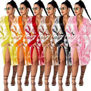 Women Pyjama Dresses Bandage Long Dress Casual Fashion Femme US Dollar Printed Medium Length Home Coat Sexy Cardigan Nightclub Clothes