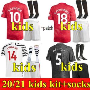 2020 2021 Манчестер Линчард Футбол Джетки Pogba United Rashford Marifial Man Home Oled 3-й Kits Kit Youth Und Child 20 21 футбол