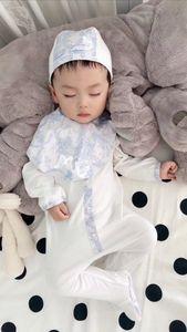 2021 novo bebê romper set para bebé chapéu + bib + romper cltohing conjunto bebê jumpsuits florais recém-nascidos footies