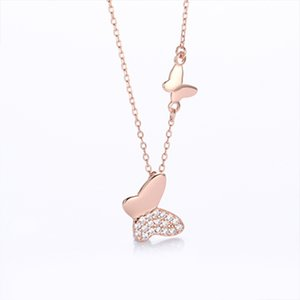 S925 Silver Micro Rhinestone All-match Butterfly Clavicle Necklace - Gold rose gold silver