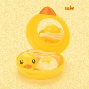 Wholesale Cartoon Yellow Duck Design Contact Lens Box Case Holder Container Case For Lenses With Mirror s0Xz#