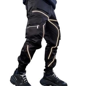 New Pants Men 2020 Jogging Fashion Reflective Shiny Casual Man Sportswear Luminous Tie Feet Men's Jogger Pants Size M-3XL