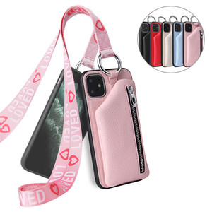 Leather phone case with lanyard for iphone 12 pro max 11 pro xs for Samsung galaxy note 20 ultra s10 s20 designer wallets
