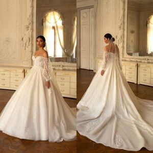 Elegant Beach Wedding Dresses Lace Applique Glitter Long Sleeve Sweetheart Vestidos De Novia Customize Sweep Train Boho Bridal Gowns
