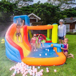 Miúdos ao ar livre inflável ar bounce casa jumper bouncer mini saltar castelos bouncy com corrediça e soprador de ar tubulação de água macia