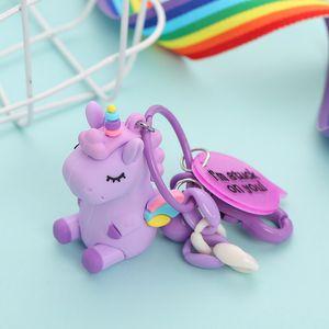 Мультфильм Rainbow Wing Unicorn Beedchains Силиконовые сплава Автомобиль Ключ Кольцо Симпатичные Женщины Сумка Ключи Пряжка Эко Другое 4 5nm E1