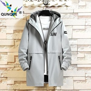 QUNQUE Nouveau 2020 Automne Casual mince section coupe-vent hommes mi-longs Urban Fashion Hooded Jacket Fashion