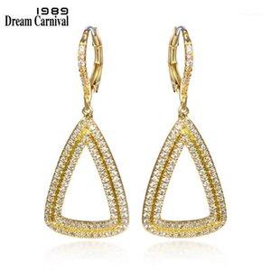 Dreamcarnival1989 DreamCarnival1989 Donne Hollow Luxury Dangle Orecchini Triangoli Forma Rhodio o Gold-Color-Colore CZ Pavimentato Pendientes SE104521