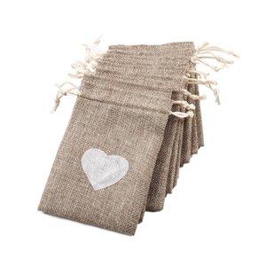 1pcs Bailetta con cordoncino borsa vintage lino amore cuore caramelle borsa regalo sacchetto per il festival di nozze Party gioielli rifornimento di imballaggio