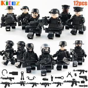 12pcs Swat Mini Jouet Action Figure Forces spéciales Policier Policier Militaire Set avec des armes Bâtiment Blocs Briques Jouet pour garçon Enfants