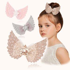 Kızlar Saç Yay Klipler Kanat Yıldız Sequins Barrettes Hairbow Çocuk Kristal Firkete Bebek Saç Kafası Aksesuarları