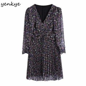 Yenkee Vintage Floral Print Мини-платье Женщины Сексуальный полупрозрачный длинный рукав V шеи повседневные плиссированные платье лето Vestido Mujer