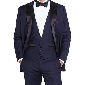 Navy Blue Groom Tuxedos for Wedding Prom Man Suit 3 Piece set Jacket Pants Vest Custom Gentleman Party Mens Clothes New Fashion