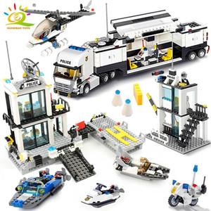 HUIQIBAO 536pcs Police Station prisão Caminhões Building Blocks City Car barco Bricks helicóptero polícia Brinquedos caçoa o presente C1114