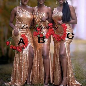 Rose Oro Sequins Vestidos de dama de honor Pedido Mezclado Pedido Custom Hecho de boda Vestido Diferente Escote Junior Maid of Honor Vestido