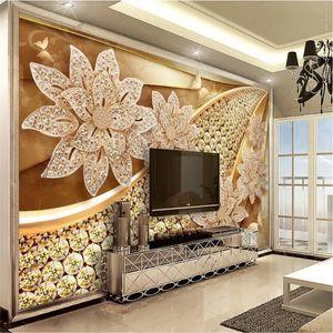 Custom European Luxury Wall Paper 3D Modern Embossed Golden Jewelry Flower Mural Wallpaper 3D for Living Room Bedroom Wall Decor