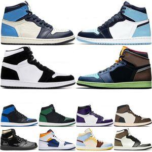 Bio Hack Nike Air Jordan Retro 1 High Travis Scotts 1s zapatos bajos de París de baloncesto del Mens UNC Mujeres sin miedo estilista de las zapatillas de deporte Deportes