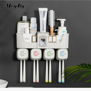 4pcs Multifunctional Toothbrush Holder Bathroom Accessories Set Automatic Toothpaste Dispenser Holder Bathroom Storage LJ201128