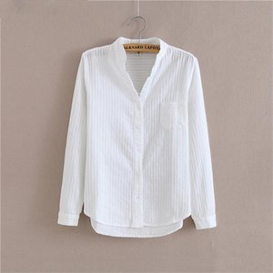 100% Cotton Shirt High Quality Women Blouse Autumn Long Sleeve Solid White Shirts Slim Female Casual Ladies Tops 05