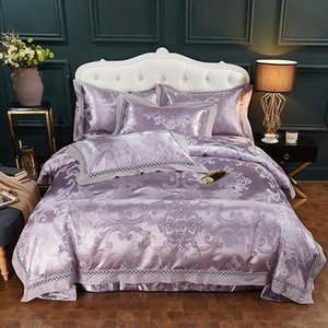 Luxury Purple 60S Satin Jacquard Bedding Sets Embroidery Bedline double queen king size Pillowcase Sheet Duvet Cover