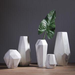 Nordic minimalist living room flower arrangement ceramic marble vase dried flowers flower vase home decoration accessories gift