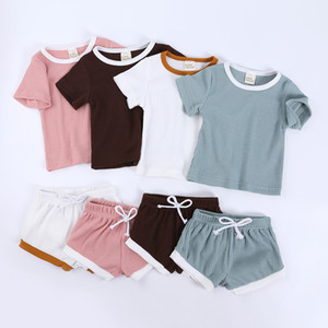 Toddler Baby Boys Girls Summer Clothing Suit Newborn Kids Baby Girls Ribbed Knitted Short Sleeve T-shirts+Shorts Tracksuits Sets